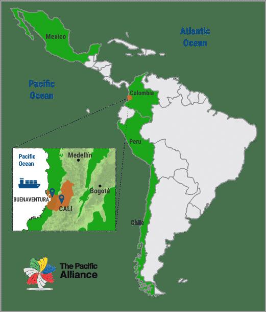 Valle del Cauca's geostrategic location, Invest Pacific